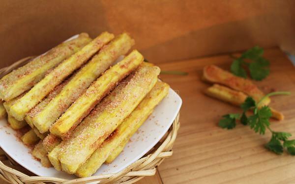 trình bày món khoai lang lắc bột xí muội