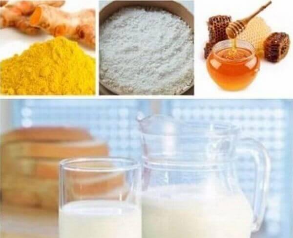 Nguyên liệu chuẩn bị - Cách làm trắng da mặt từ nghệ tươi và mật ong, sữa tươi