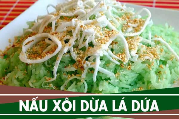 Cách nấu xôi dừa lá dứa cốt dừa bằng nồi cơm điện ngày Tết