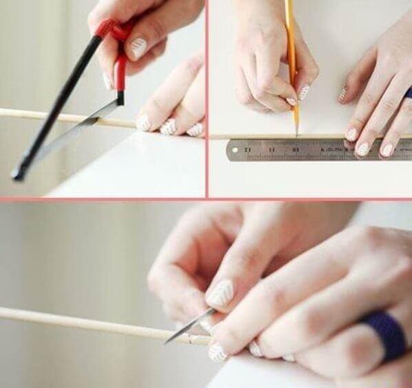 Bạn đo và cắt một thanh tre dài