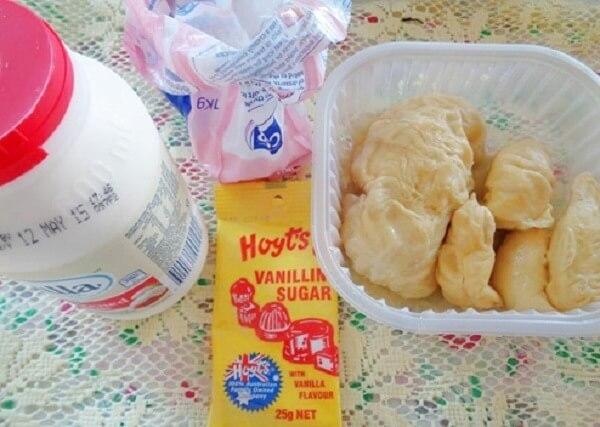 Nguyên liệu làm phần kem sầu riêng đặc trưng