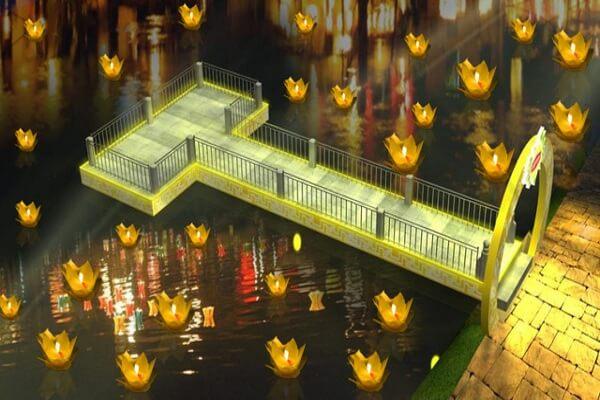 Thả đèn trên hồ Bán Nguyệt
